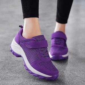 Женская Повседневная обувь из дышащей сетчатой ткани, нескользящая спортивная обувь на плоской подошве, весна-осень 2019