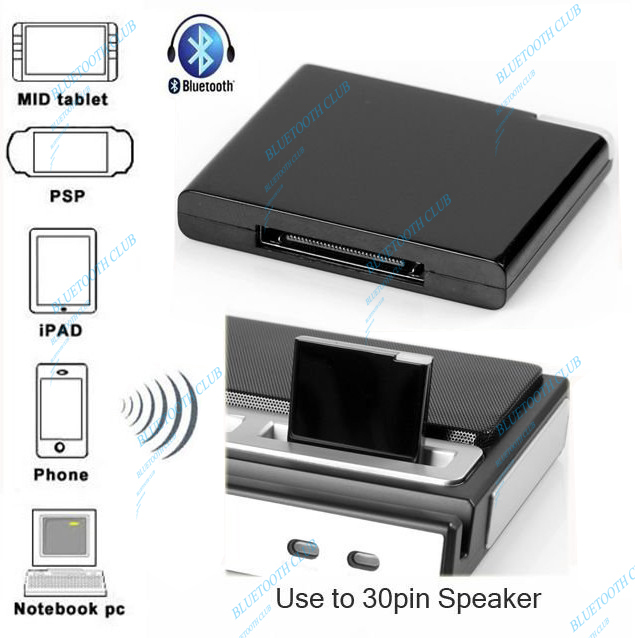 Free Shipping Wholesale  A2DP 30pin connector Wireless Music Receiver Bluetooth Audio Adapter for IPHONE, IPAD, IPOD Speakers