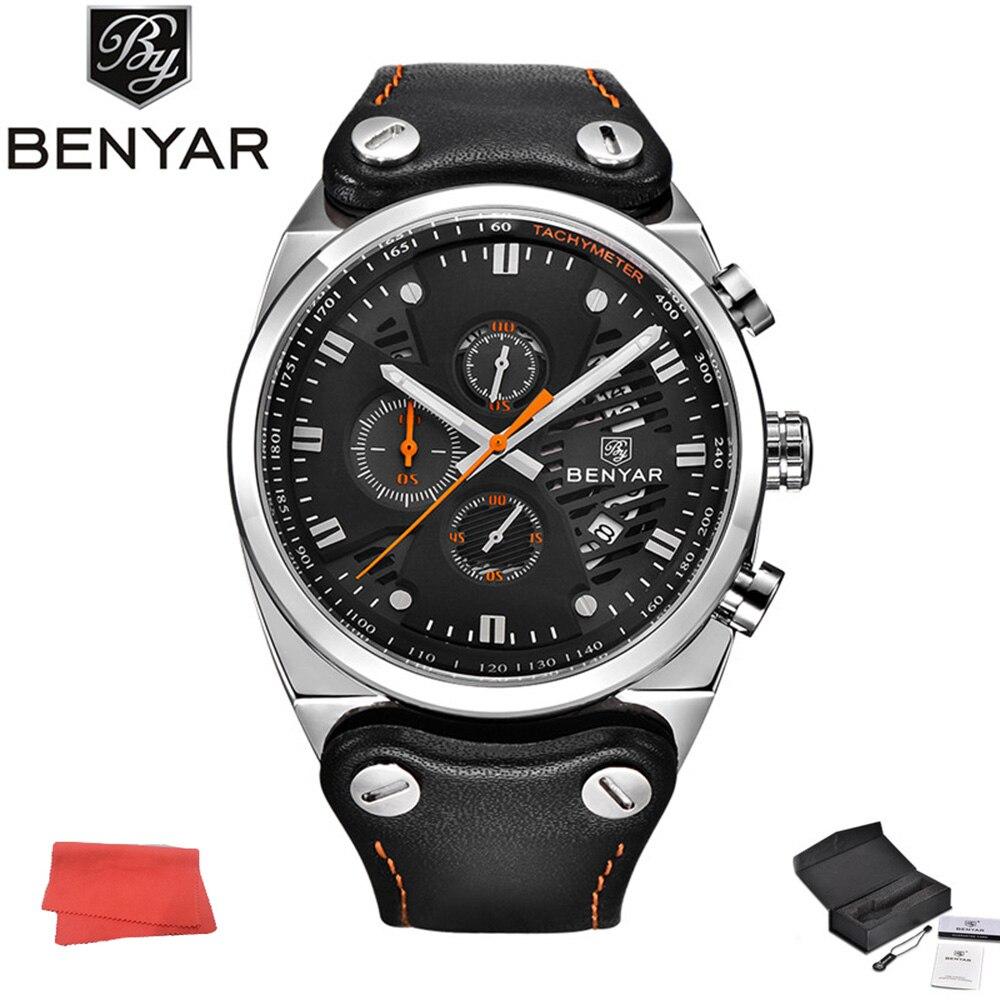 где купить BENYAR Watch Outdoor Chronograph Clock Men Sport Waterproof Quartz Watches Date Clock Leather Army Military Relogio Masculino по лучшей цене