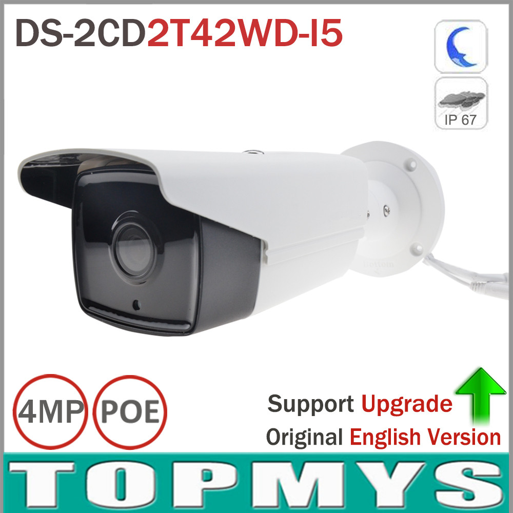Hik Overseas Version Home secuity IP Camera DS-2CD2T42WD-I5 4MP EXIR IR 50M Support POE WDR Bullet CCTV IP Camera