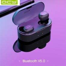 QCY T2C Новый 2019 СПЦ 5,0 Bluetooth наушники 3D беспроводные стерео наушники с двойной микрофон гарнитуры и зарядки коробка T1S