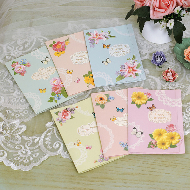 Vintage Birthday Cards With Envelopes6 Designs Butterfly Happy To FriendKidsFamily