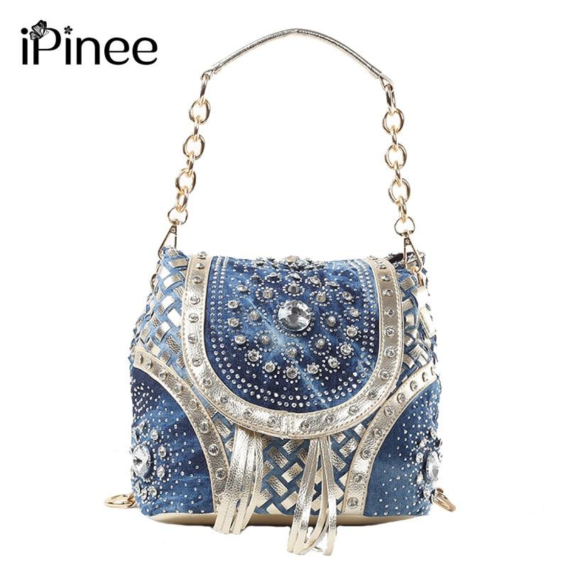 iPinee Gold / Sliver fesyen wanita beg tangan berjenama menenun gaya jumbai beg bahu wanita