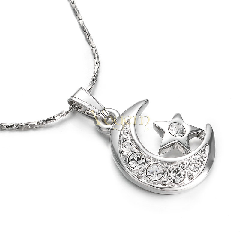 New Moon Star Pendant Women w Austrian Crystal Necklace Silver Plated
