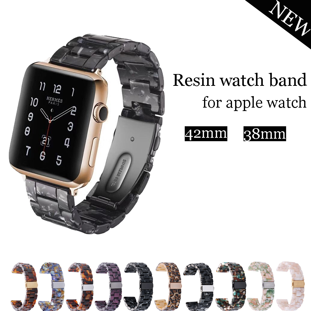 Resin watch strap band for apple watch 3 2 1 42mm 38mm stainless steel buckle bracelet watchband for iwatch watch wrist belt цена 2017