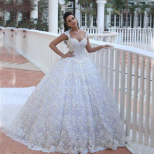 Said Mhamad Wedding Dresses Puffy 2016 Luxury Lace Backless Beaded Cathedral Court Train Vestidos De Novia Bridal Gowns For 2017