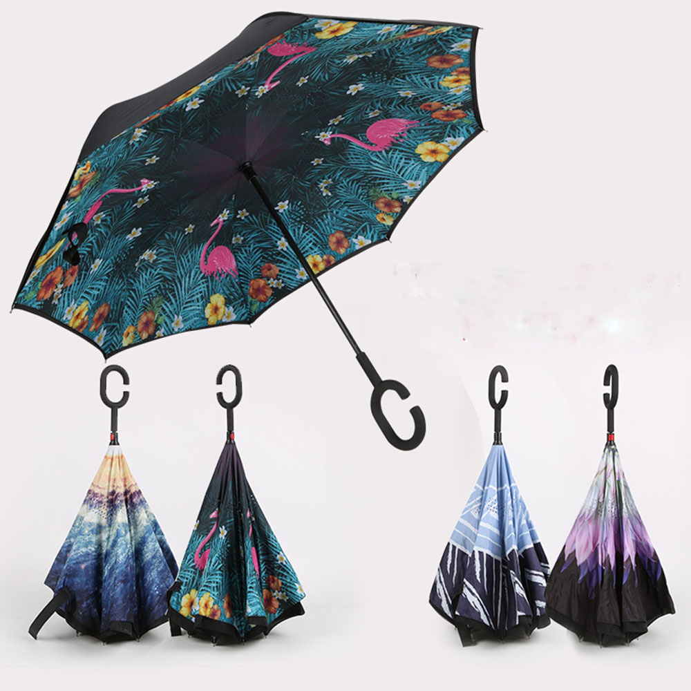 SLEPOPO Inverted Umbrella,Windproof UV Protection Big Straight Umbrella with C-Shaped Handle and Carrying Bag Digital Painting Beautiful Abstract Colorful Double Layer Reverse
