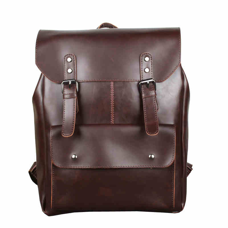 ФОТО High Quality PU Leather Men Backpack England Vintage Style Laptop Backpacks Teenage Men's School  Rucksack mochila Black XA146H