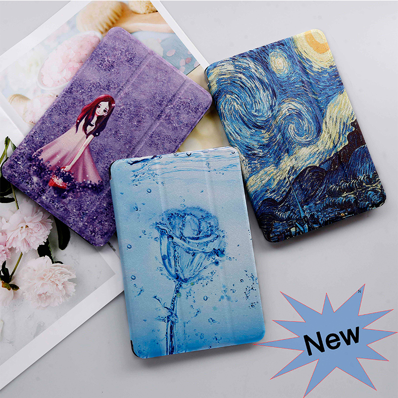 QIJUN Case For Samusng Galaxy Tab E 9.6 inch SM-T560 SM-T561  t560 Flip Tablet case Leather Smart Stand Painted Shell Cover