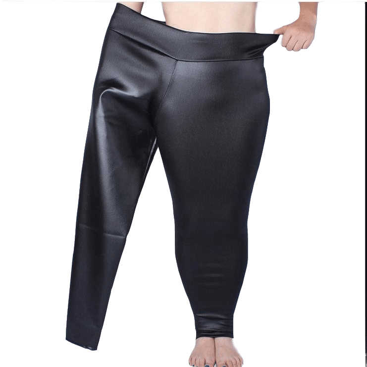 Large Women Pants 2019 Women Autumn PU Leather Tunic Fleece Pants Elastic High Waist Vintage Strench Black Pencil Trousers M834