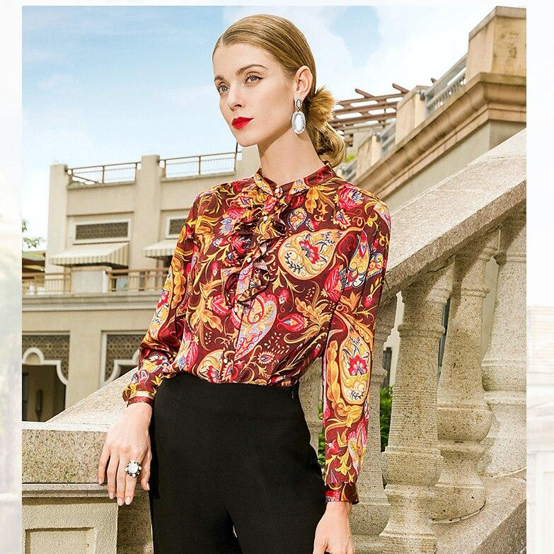 Euroepan Повседневное ретро с длинным рукавом цветок шелковые рубашки женский весна 2019 рубашка для женщин; Большие размеры принт Для женщин s То