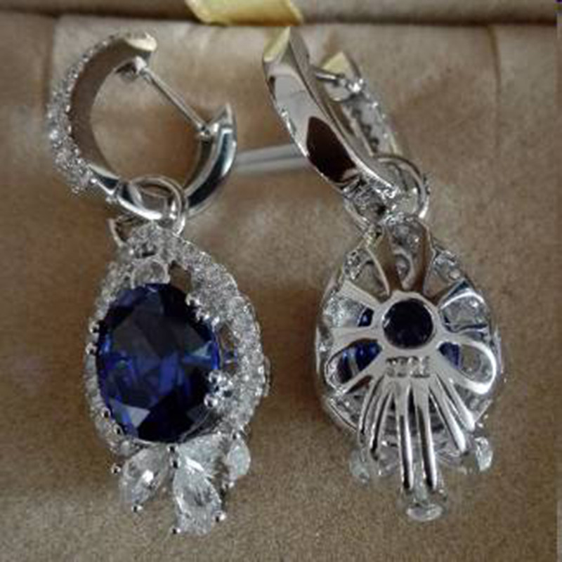 Nieuwe Qi Xuan Fashion Jewelry AAA CZ Blue Stone Earrings S925 Solid Sliver Fashion Blauw Earrings Manufacturer Direct Sales - 4