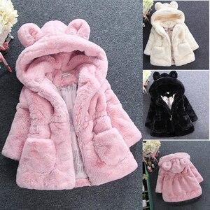 Image 1 - חדש אופנה חורף תינוק בנות בגדי פו פרווה צמר מעיל תחרות חם מעיל חג המולד חליפת שלג 1 8Y תינוק ברדס מעיל הלבשה עליונה