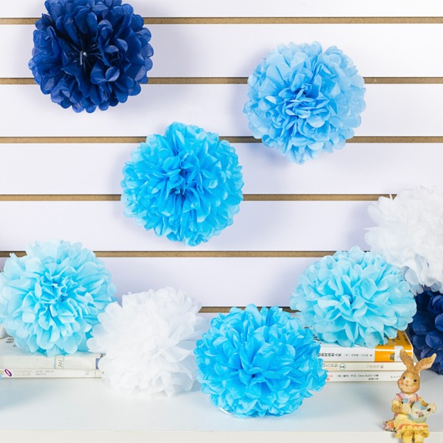 blue shades 20cm tissue pom pom flowers set handmade table rh aliexpress com tissue paper pom poms table centerpieces