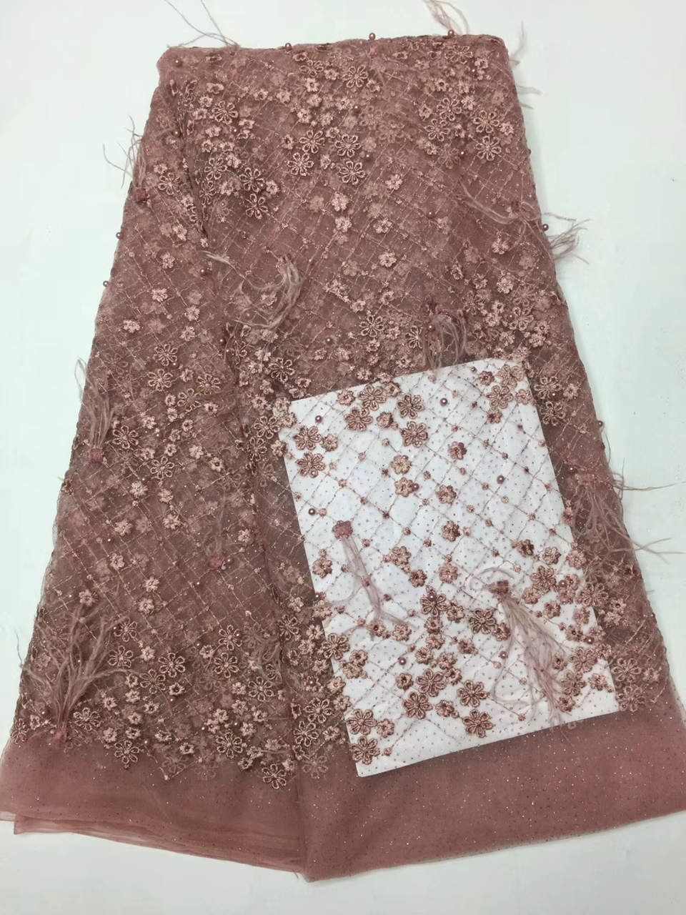 feather Fabric 2018 African Lace Fabric With Beaded High Quality 3D Flower Embroidery Nigerian Lace Fabrics For Wedding