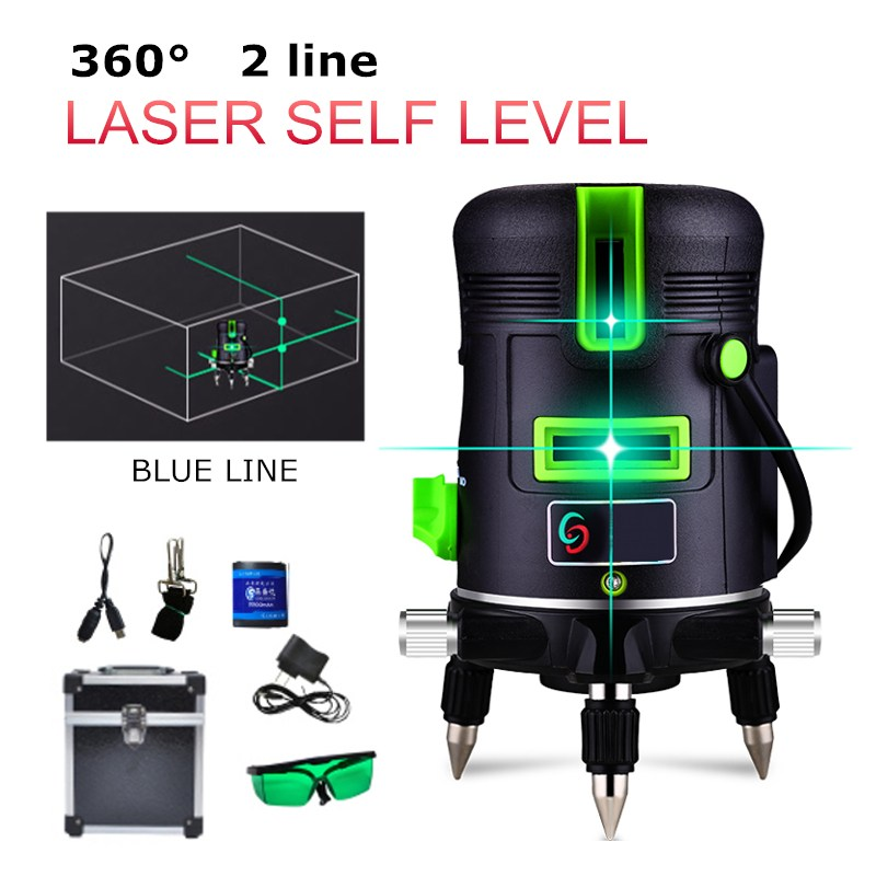 New Arrival 2 Line 360 Degree Automatic Self Leveling Vertical Horizontal Blue Cross Lines Laser Level Outdoor Waterproof Tools home new right angle 90 degree vertical horizontal laser line projection tools lh8s