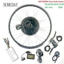 Когда-нибудь 48V1000W набор преобразования для электрического велосипеда с дисплеем LCD3 Электрический велосипед BLDC мотор ступицы переднего колеса