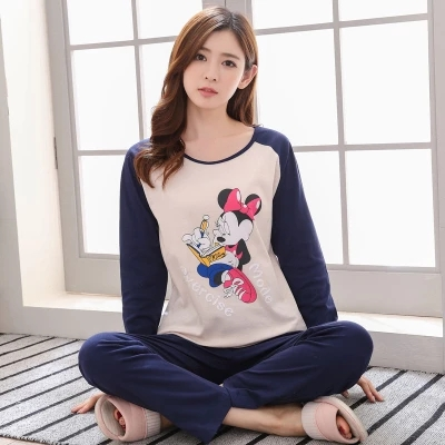 Pajamas Sets Women Striped Soft Cotton Carton Fashion Women Long Sleeve Sleepwear Suit 2 Piece Sexy Spring Home Lounge