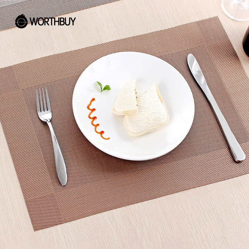 fashion plastic pvc dining table mat heat insulation non slip placemats disc pads bowl tableware - Kitchen Table Mats