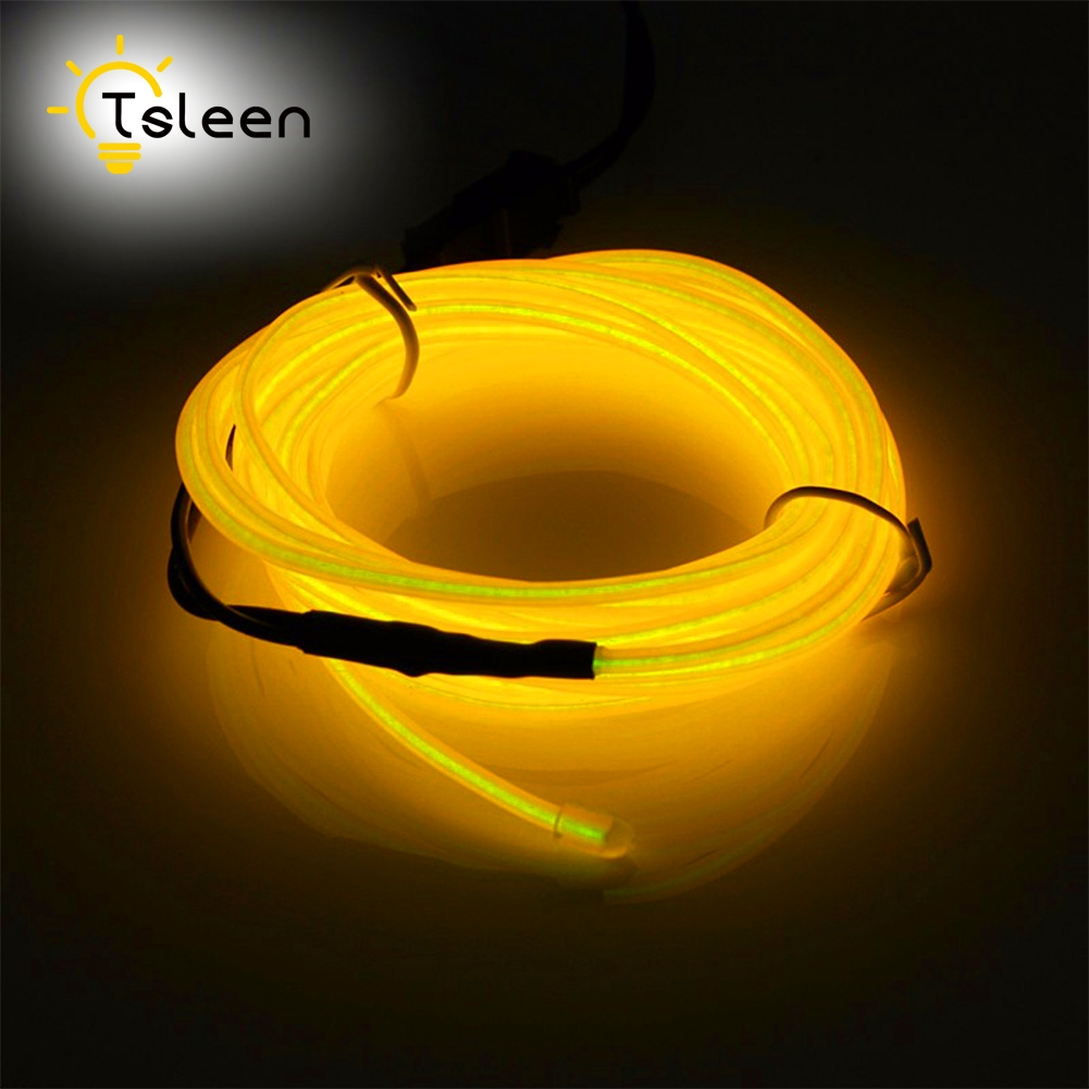 TSLEEN 2M 8PcsLot Neon Wire Lights Dance Party Car Decor Light Neon LED Lamp Flexible EL Wire Rope Waterproof Cool Neon Wire