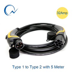 32A EV Cable J1772 Type 1 to Type 2 IEC62196 EV Charging Plug With 5 Meter cable TUV/UL male to female EVSE Charging Plug cable