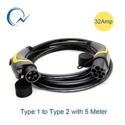 32A EV Kabel J1772 Typ 1 zu Typ 2 IEC62196 EV Ladestecker Mit 5 Meter kabel TÜV/UL männlichen zu weiblichen EVSE Ladestecker kabel
