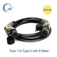 32A EV câble J1772 Type 1 à Type 2 IEC62196 EV prise de charge avec câble de 5 mètres TUV/UL mâle à femelle EVSE câble de charge