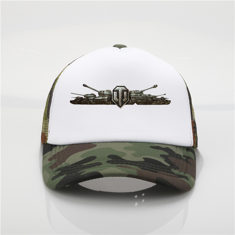 games World Of Tanks Printing net   cap     baseball     cap   Men and women Summer Trend   Cap   New Youth Joker sun hat