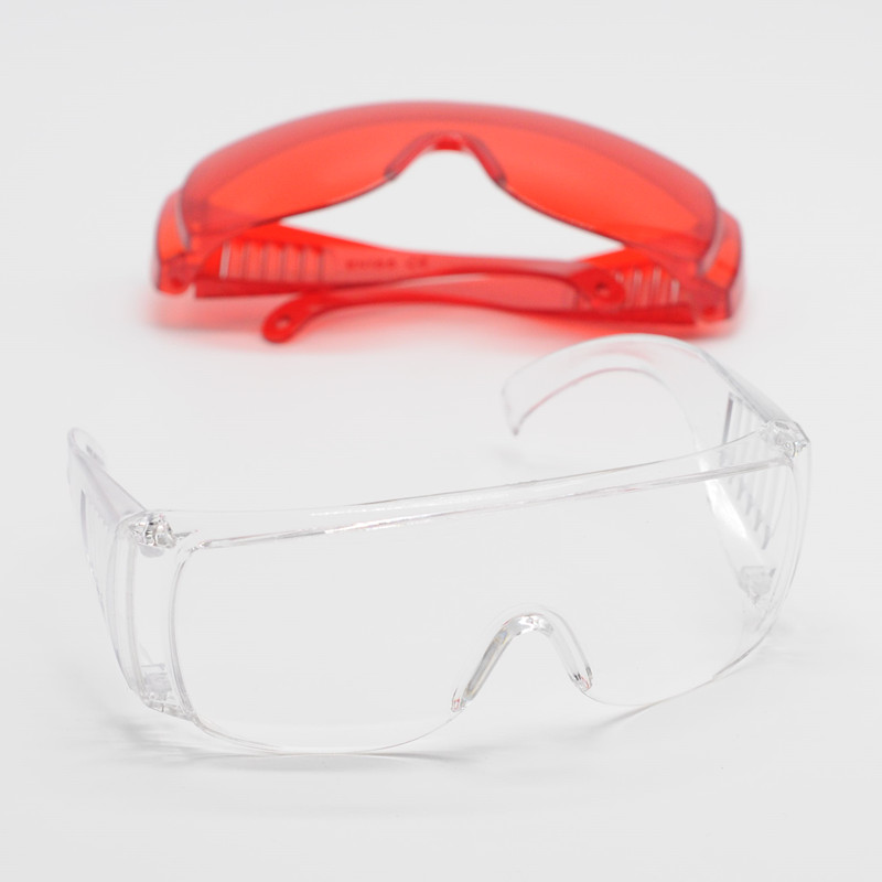 Lab Item Dental Safty Protecitve Goggle Glasses in Eye Curing Light Clear/Red For Dentistry Clinic Supplies