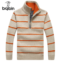 Business Pullovers 2018 New Mens Striped Sweater Half Zipper Knitwear Spring Casual Men S Sweaters M
