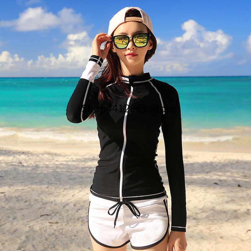 カップルラッシュガード男性女性長袖シャツショーツ愛好家サーフィン服固体黒と白のジッパー rashguards winsurf