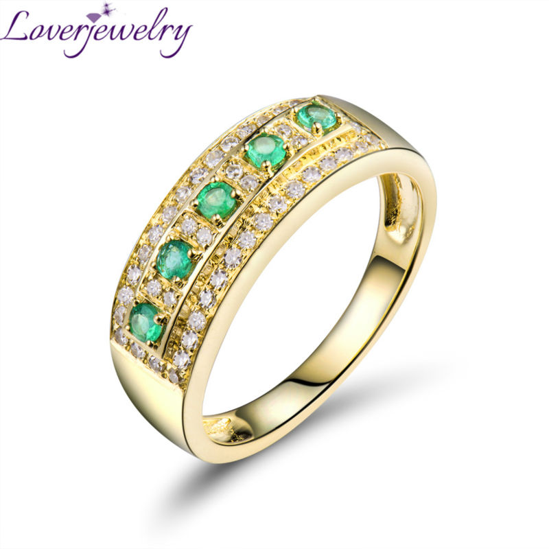 18K Solid Yellow Gold Green Emerald Ring Natural Diamond  Wedding Jewelry Engagement Gift for Men's WU0318
