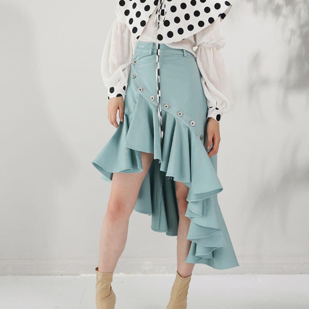 Cintura Diseñador 2019 Streetwear De Falda Ropa Asimétricas Azul Cielo Botón Faldas Pista Mujeres Alta Verano Kohuijoo Damas R8qwd5q