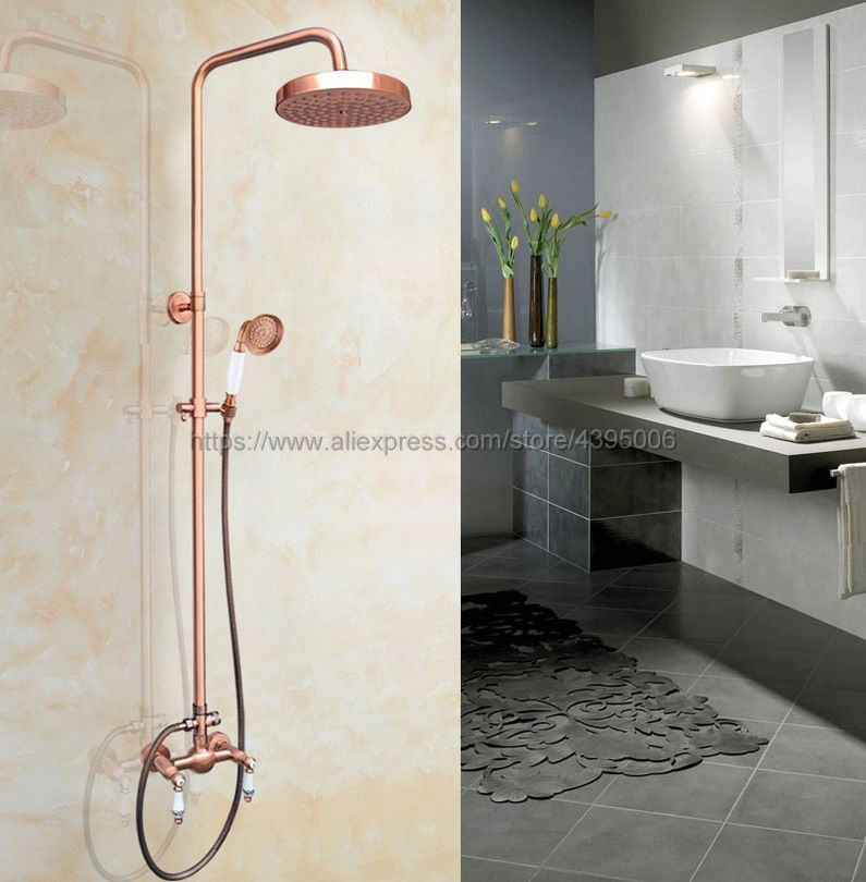 Antique Red Copper Wall Mount Shower Set Faucet Double Handle with Handshower Bathroom Shower Mixer Tap Brg555