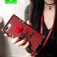 Lovecase高級刺繍3dローズフラワーケースiphone用8 7女の子電話ケースiphone用8 × 6 6 s 7プラスカバー付きストラッ