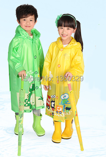 Pink Green Blue burberry kids Cartoon Raincoat Yellow Rainwear Children with Schoolbags Rain Coat Boys Rain