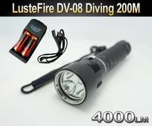 LusteFire DV-08 Professional Diving 3 x Cree U2 LED 4000 Lumen 200m Diving Flashlight Torch Light+2x 26650 battery+Charger