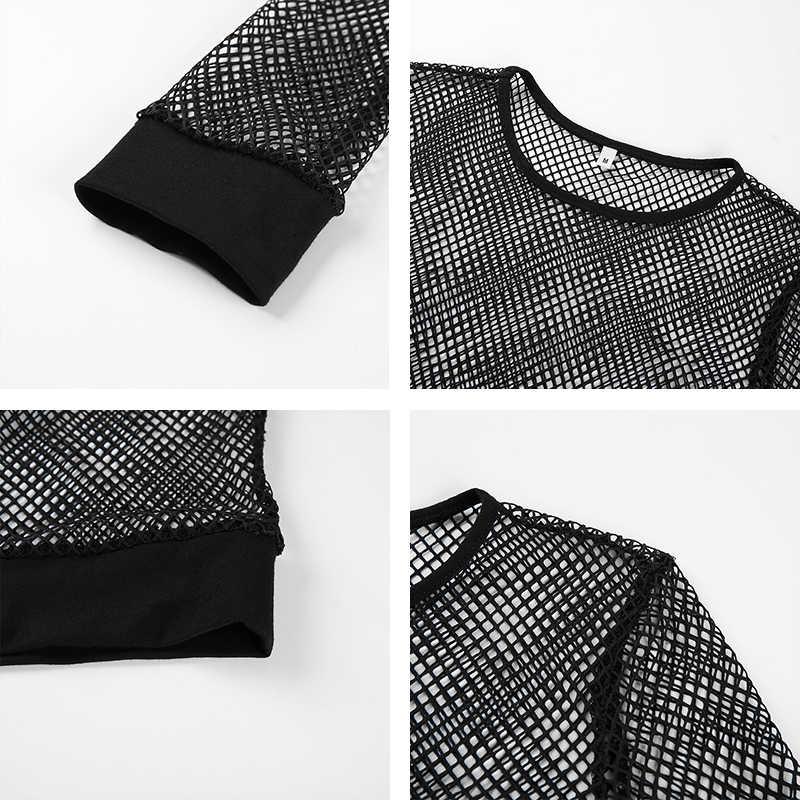 Rapwriter סקסי שחור חלול החוצה רשת חולצה נקבה סקיני יבול למעלה 2018 חדש אופנה קיץ בסיסית חולצות לנשים רשת דייגים חולצה