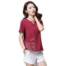 New Cotton Linen T shirts Women Summer 2017 Fashion V neck Printing Short Sleeve Women T