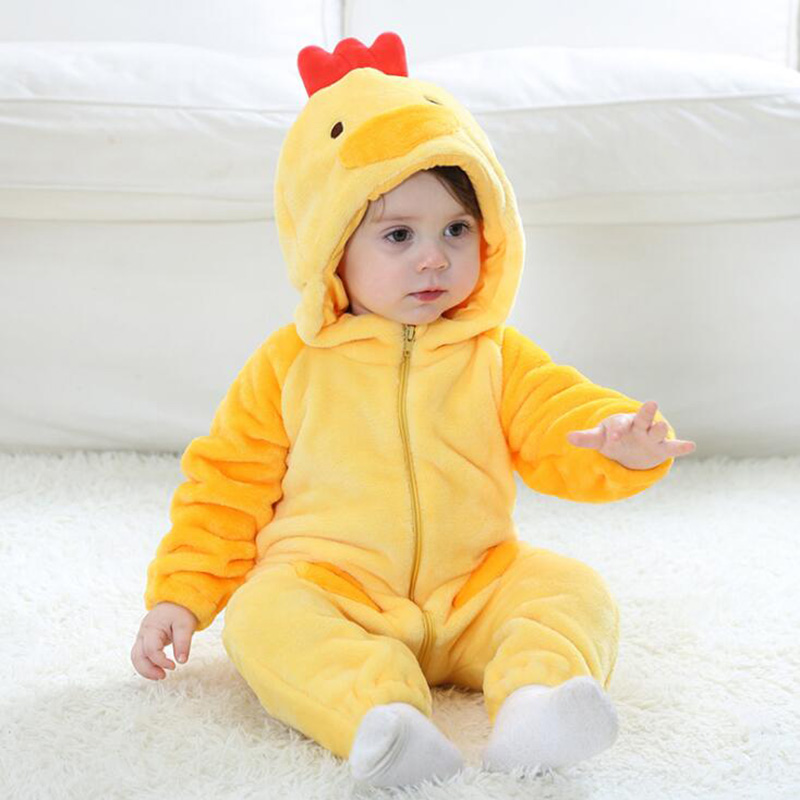 Cartoon Anime Baby Rompers Pajamas For Kid Winter Cotton Boys Girls Gap Infant Animal Chicken Rompers Onesies Kigurumi New born
