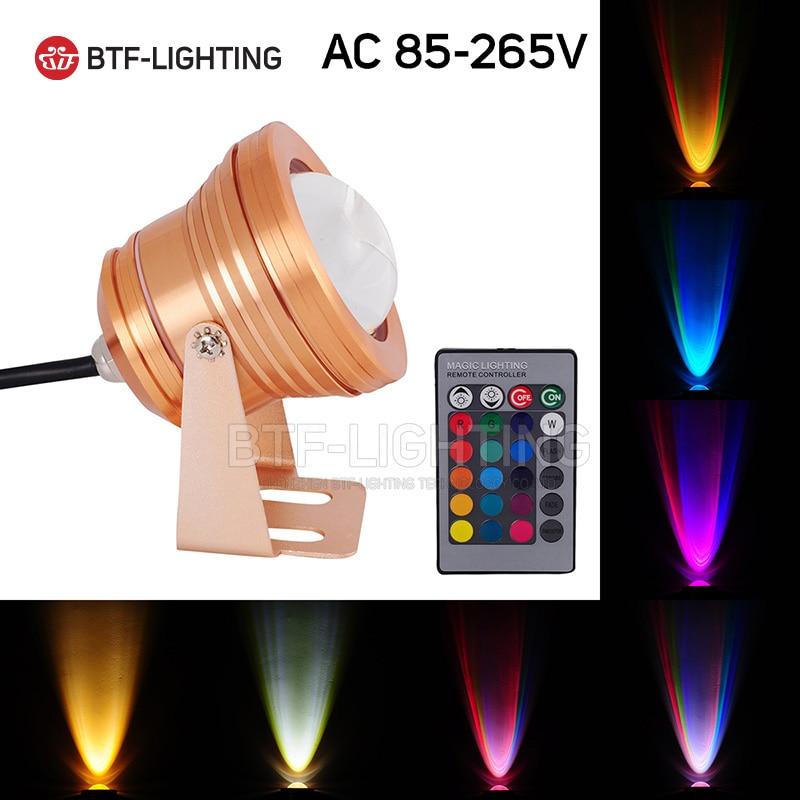 10W Golden Case RGB AC85-265V LED Underwater Floodlight Swimming Pool Light IP68 Waterproof Lighting Convex Glass Spot light
