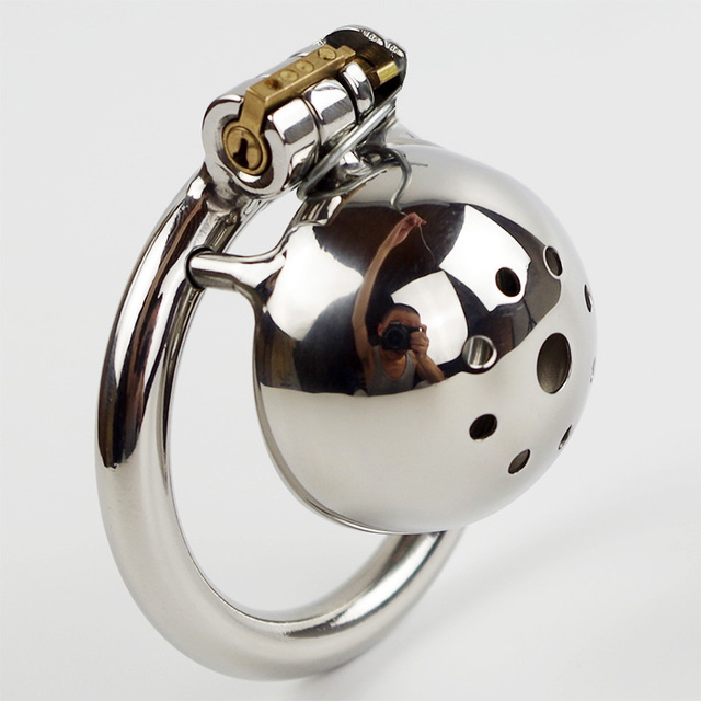 Short Male chastity device belt stainless steel metal penis lock chastity cock ring chastity belt men