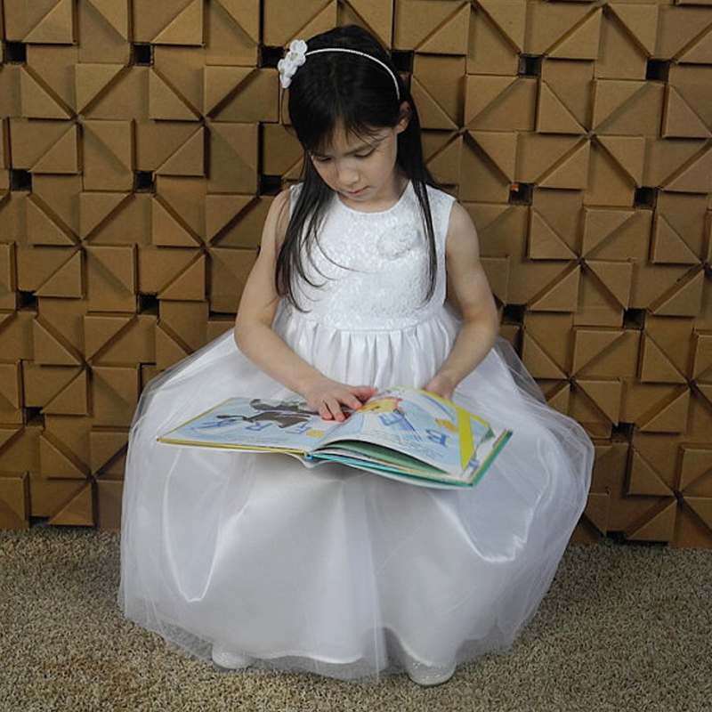 Ivory and White Flower Girl Dress Long Comunion Lace Mother Daughter Dresses Ankle-Length First Communion Dresses for Girls baptism a line 2016 lace white first communion floor length for princess vestidos de comunion off the shoulder holy dresses