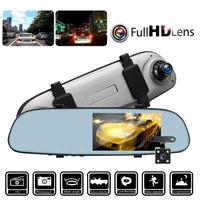VODOOL 5in IPS Touch Screen Car DVR Camera Video Recorder Dual Lens 1080P Car Rearview Mirror G sensor Night Vision Dash Camera