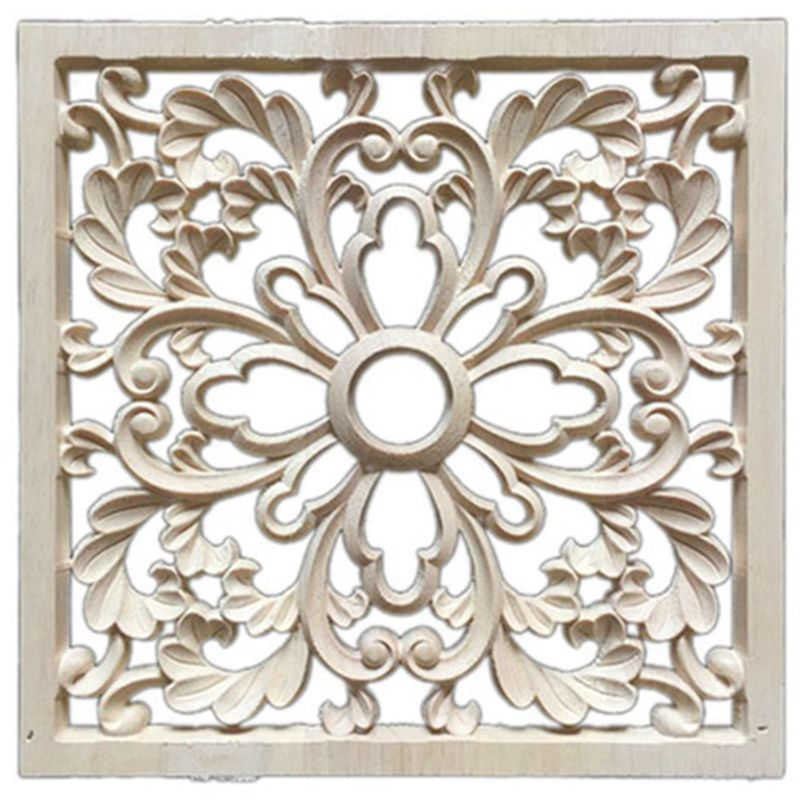 1X Rubber Wood Carved Floral Decal Craft Onlay Applique Furniture DIY Decor #F:20*20cm