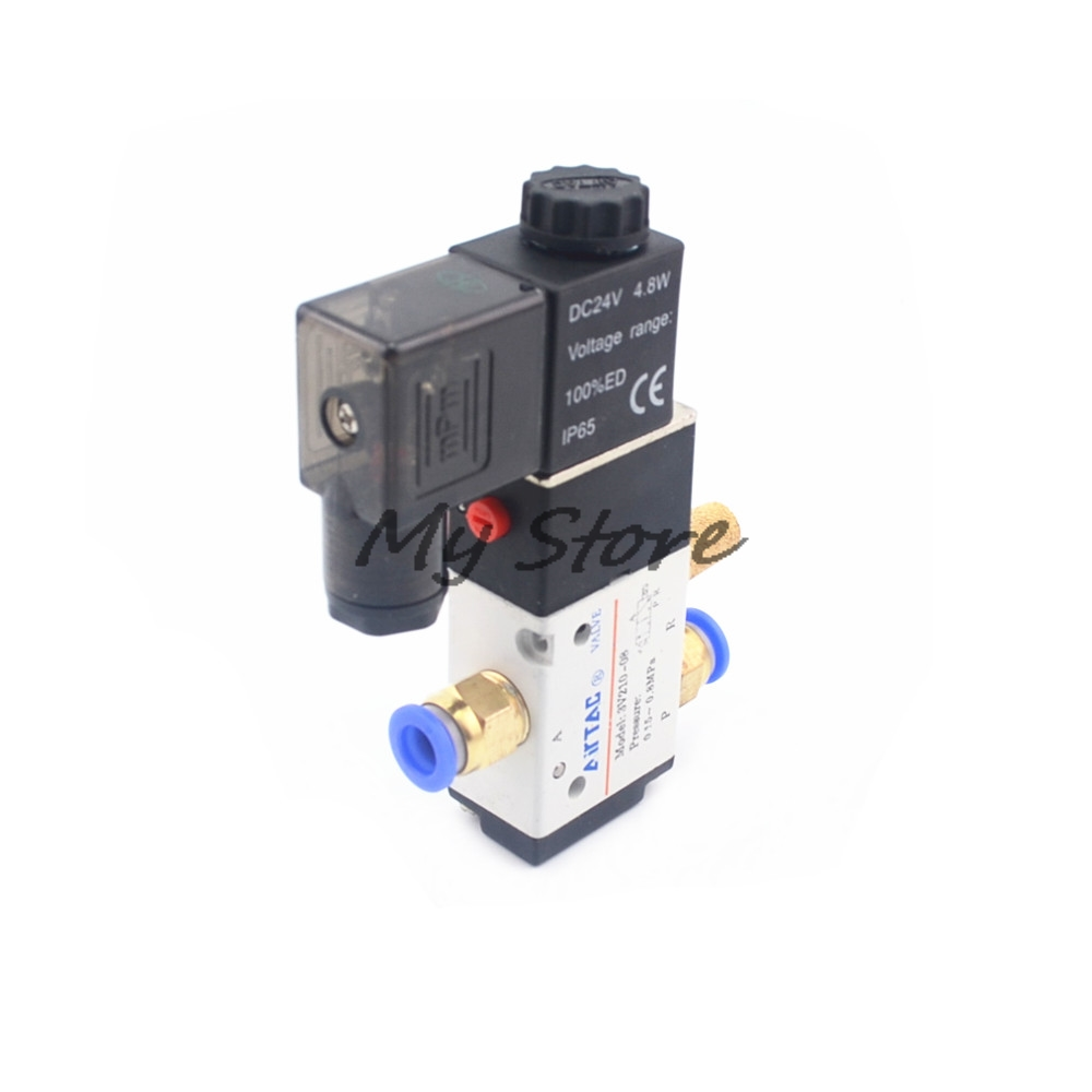 Pneumatic 3 Way 2 Position Air Directional Control Solenoid Valve 3V210-08 DC12V DC24V AC110V AC220V Pneumatic Fittings Muffler