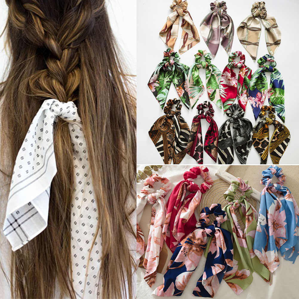 Elegant Big Flower Leopard Printed Scrunchie Ribbon Elastic Hair Bands Women Girls Knotted Long Streamers Scarf Hair Accessories