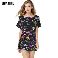 Milano Fashion Paris Fashion Show Print Dress Casual Pinafore Dresses Ladies Multicolor Floral Dresses Render Birds