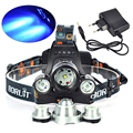 5000Lumens High Power 3 Head XML T6 +R5 Blue LED Fishing Front Head Light Lamp Headlamp lampe frontale Bicycle Light + Charger