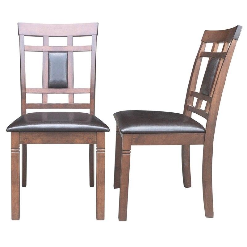 Lot de 2 chaises de salle à manger rembourrées en cuir PU haut dossier sans bras meubles rembourrés siège Comedores Modernos Muebles HW58875